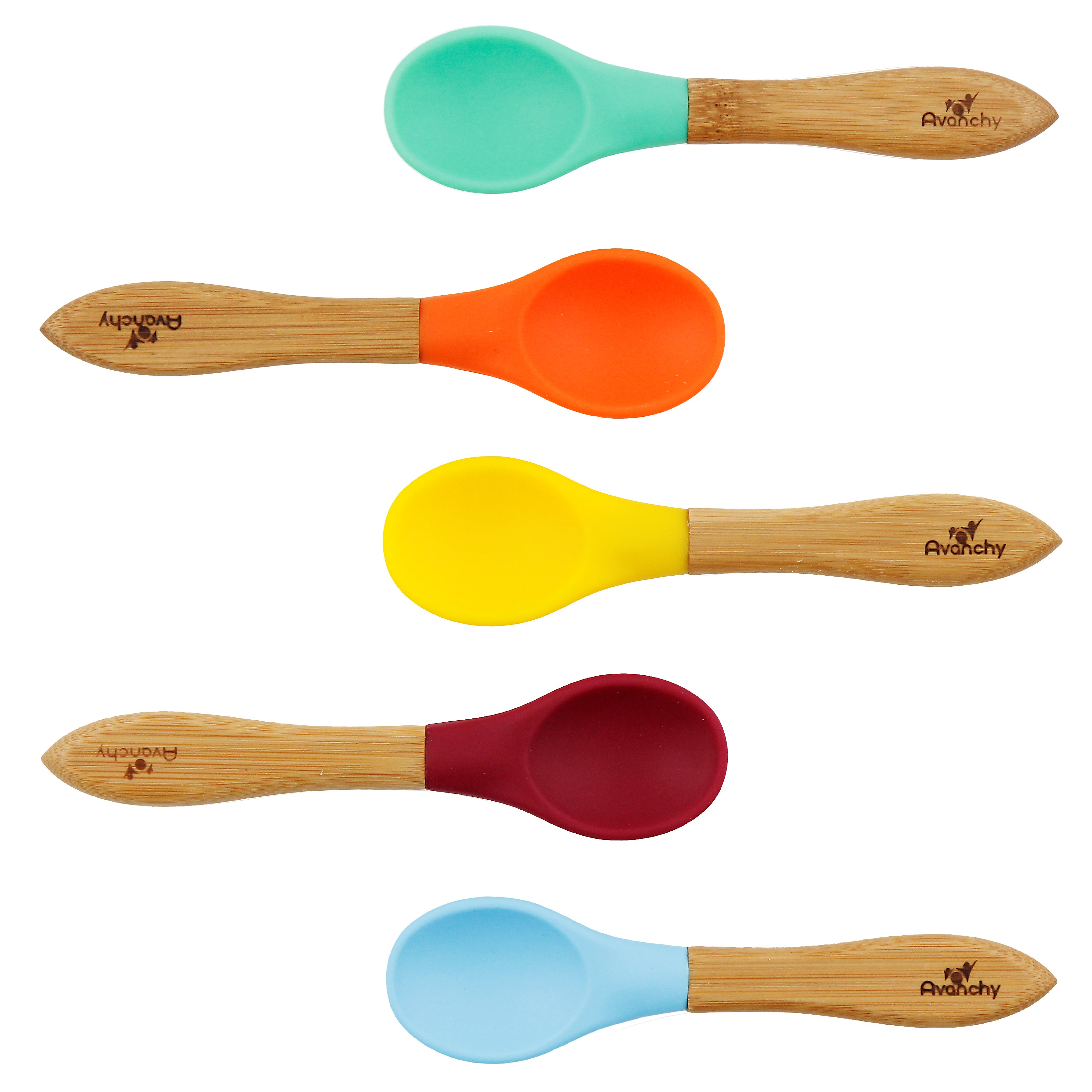 Avanchy Bamboo & Silicone Baby Spoon - Assorted Blue