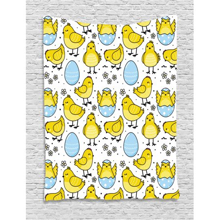 Farm Animal Tapestry, Baby Chick and Cracked Easter Egg with Daisy Motifs and Small Dots, Wall Hanging for Bedroom Living Room Dorm Decor, Yellow Baby Blue White, by Ambesonne Baby Daisys Walk