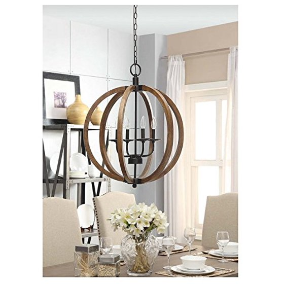 Contemporary metal and wood frame orb chandelier walmart contemporary metal and wood frame orb chandelier mozeypictures Images