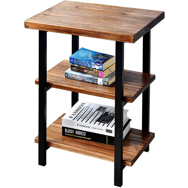 WELLAND 3-Tier High End Table | Rustic Side Table for Living Room & Bedroom | Made of Solid Pinewood with Espresso Finish Shelf and Matte Black Iron Frame | Easy to Assemble |