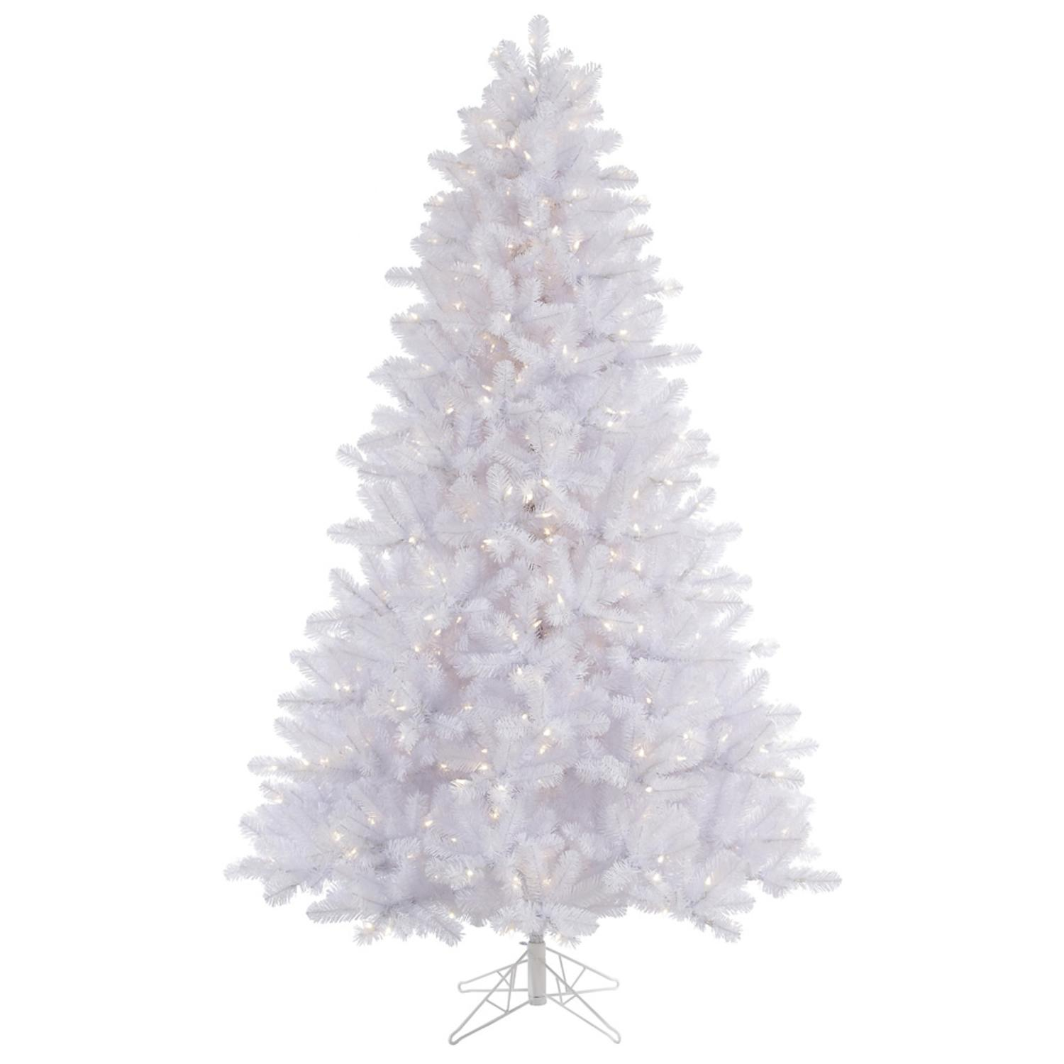 15' Pre-Lit Crystal White Pine Artificial Christmas Tree - Warm White LED Lights
