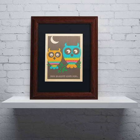 "Trademark Fine Art ""Rainbow Owls"" Canvas Art by Anderson Design Group, Black Matte, Wood Frame"