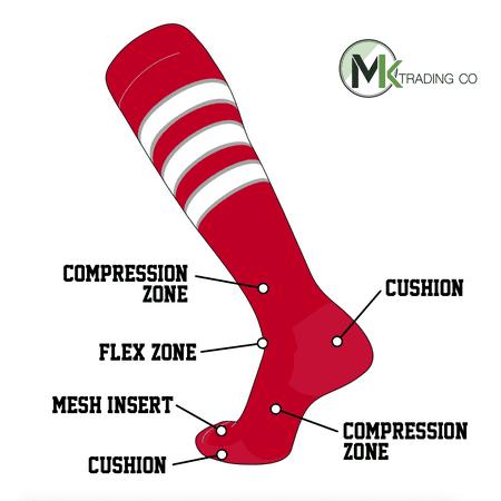 TCK Elite Baseball Football Knee High Striped Socks (D) Red, Grey, White