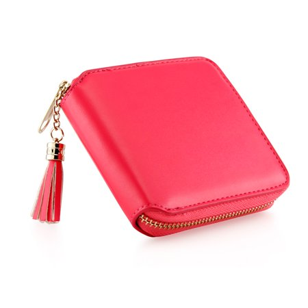 Pink Leather Checkbook Wallet - Fashion Womens Leather Coin Mini Wallet Case Card Holder Zip Purse Clutch Handbag