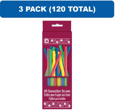(3 Pack) Plastic Smoothie Straws, Assorted, 120ct total