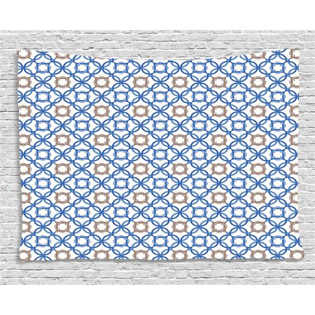 Old Dutch Decor (Quatrefoil Tapestry, Ancient Delft Blue Inspired Pattern Intricate Old Dutch Tile Motifs, Wall Hanging for Bedroom Living Room Dorm Decor, 60W X 40L Inches, Pale Brown Blue White, by Ambesonne )