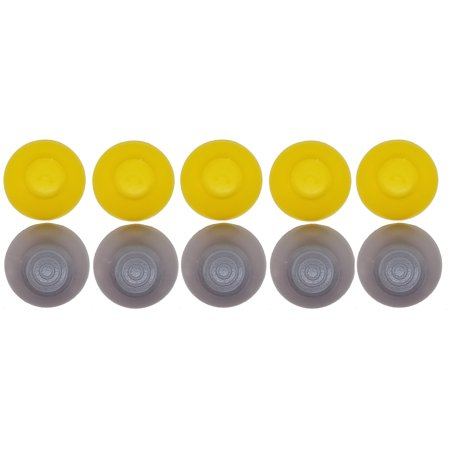 Games&Tech 10 Joystick Analog Stick Caps Covers 5 Left (Grey) and 5 Right (Yellow) Replacement Parts for Nintendo GameCube Controller (Gamecube Joystick)