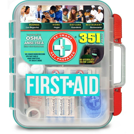 351 Piece First Aid Kit, Exceeds OSHA ANSI 2015 Standards for 100 People - Workplace, Home, Car, School, Emergency, Survival, Camping, Hunting, and Sports, 351.., By Be Smart Get - Halloween Survival Kit For Teachers