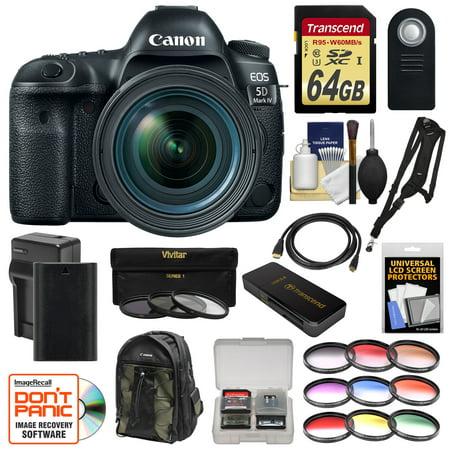Canon Eos 5D Mark Iv 4K Wi Fi Digital Slr Camera   Ef 24 70Mm F 4L Is Usm Lens   64Gb Sd Card   Battery   Charger   Backpack   12 Filters   Strap Kit