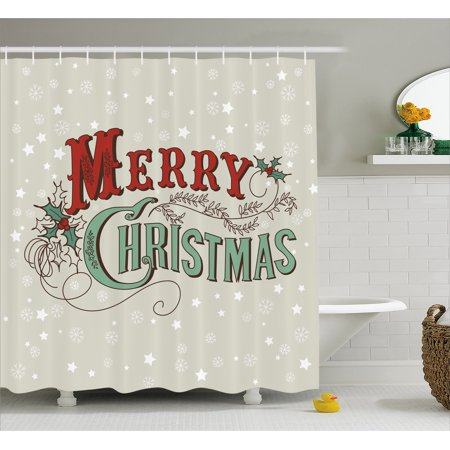 Christmas Bathroom Curtains.Christmas Shower Curtain Xmas Stars And Snowflakes Backdrop With Stylized Retro Lettering Fabric Bathroom Set With Hooks Eggshell Sea Green Ruby