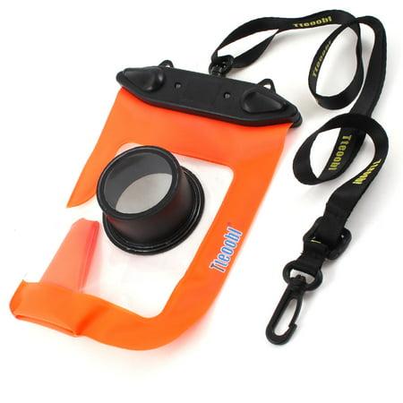 Orange Leis (External Lens Protector Water Resistance Orange Pouch Bag + Black)