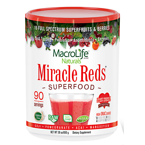 Macro Life Naturals Miracle Reds Antioxidant Superfood Supplement, Berry Taste - 90 Servings - 30 oz (850 g)