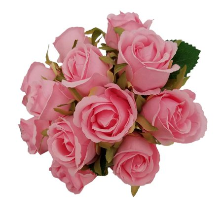 12 Heads Artificial Silk Fake Flowers Leaf Rose Wedding Floral Decor Bouquet - Fake Pink Flowers
