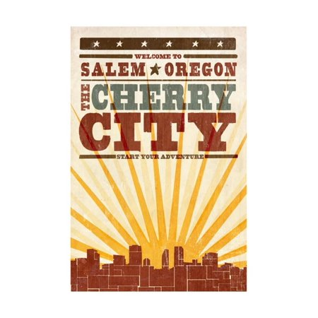 Salem, Oregon - Skyline and Sunburst Screenprint Style Print Wall Art By Lantern Press - Party Store Salem Oregon