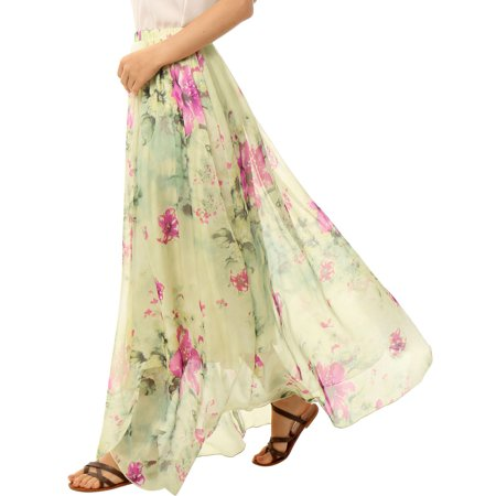 (Women Elastic Waist Floral Prints Chiffon Flowy Maxi Skirt)