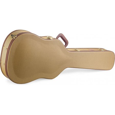 Deluxe Acoustic Guitar Case - Stagg GCX-W GD Deluxe Hard Case for Western/Dreadnought Acoustic Guitars - Vintage Style Gold Tweed