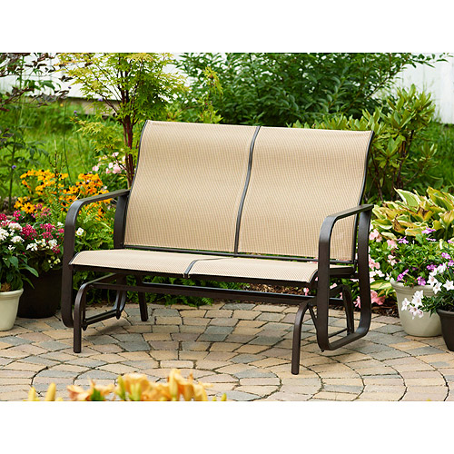 Mainstays Square Tile Sling Glider Bench, Seats 2