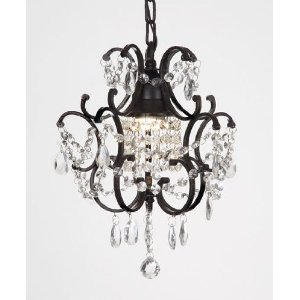 "Gallery Wrought Iron Crystal Chandelier H14"" W11"" Swag Pl..."