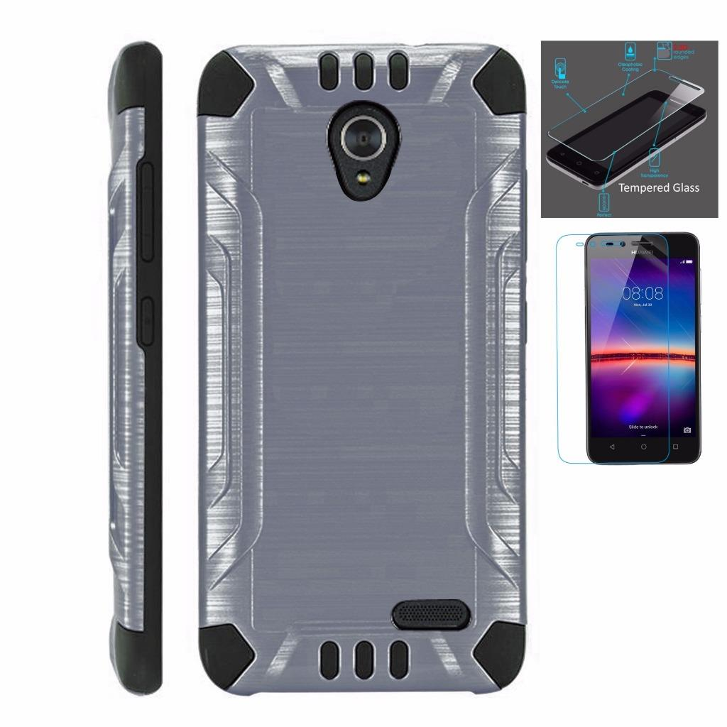 For ZTE Prestige 2 Case / ZTE ZFive 2 Case + Tempered Glass Screen Protector / Slim Dual Layer Brushed Texture Armor Hybrid TPU Combat Phone Cover (Gray/Black)