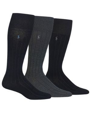 Polo Ralph Lauren Single Stripe Embroidered Polo Wing Mercerized Athletic Sock