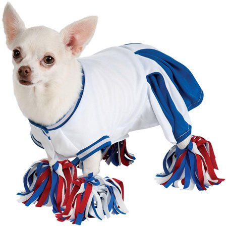 Rubies Dog Cheerleader Costume Blue Cheer Leader Pet Outfit Pom Pom Anklets](Dog Cheerleader Outfit)
