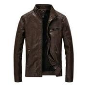 Mens Stand Collar Motorcycle Vegan Leather Jacket - Dark Brown - S