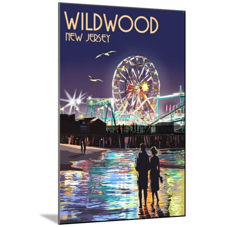 Ride Print Jersey - Wildwood, New Jersey - Pier and Rides at Night Wood Mounted Print By Lantern Press