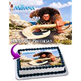 Maui Moana Edible Cake Topper Personalized Birthday 1/4 Sheet Decoration Custom Sheet Party Birthday Sugar Frosting Transfer Fondant Image for cake