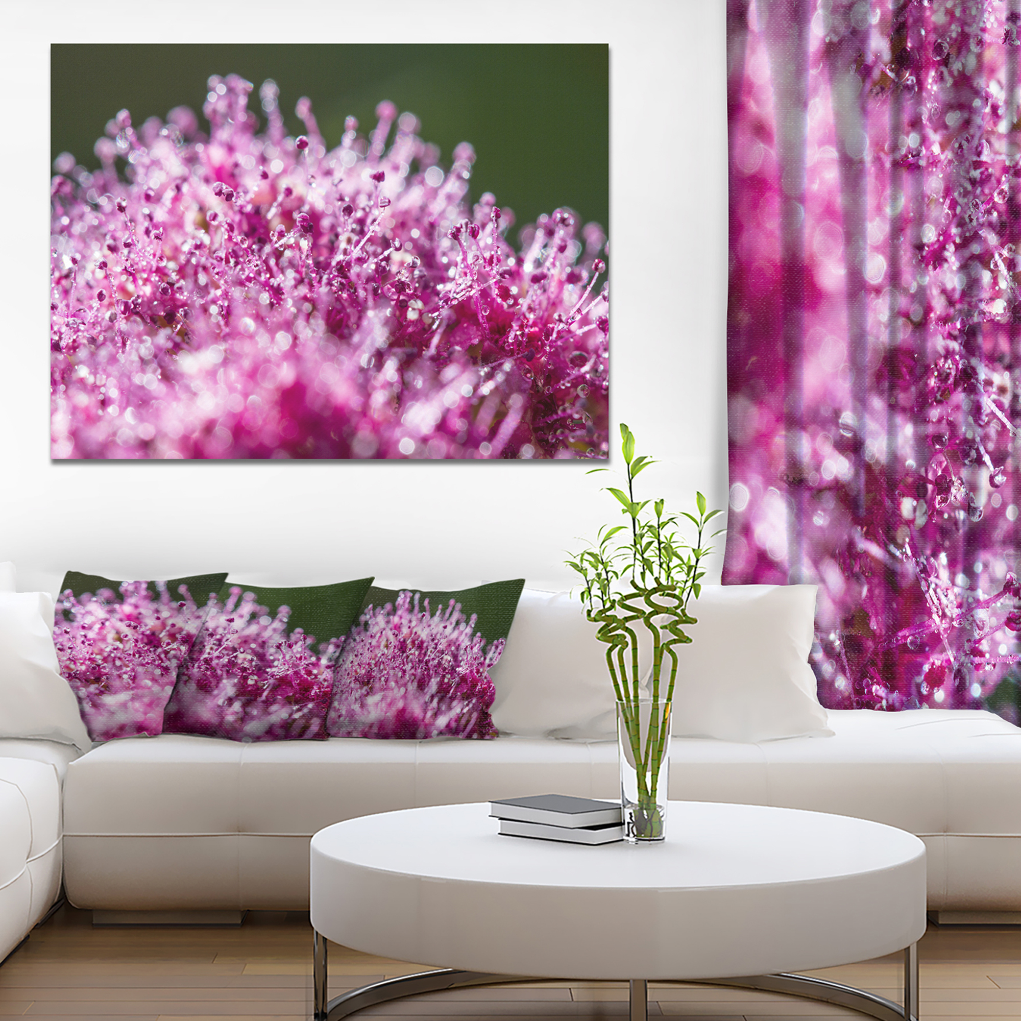 Pink Little Flowers Close up View - Large Floral Wall Art Canvas - image 3 de 3