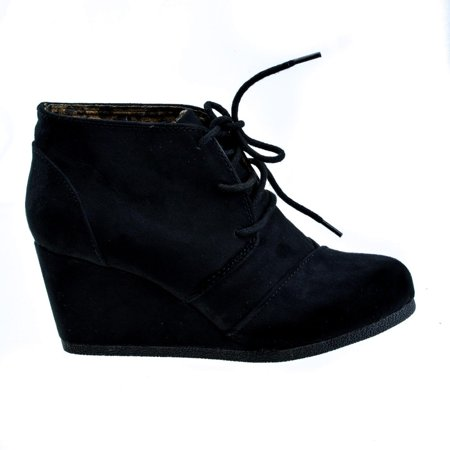 Rex by DBDK, Lace Up Oxford Ankle Bootie Round Toe High Hidden Wedge Heel Women's Shoe ()