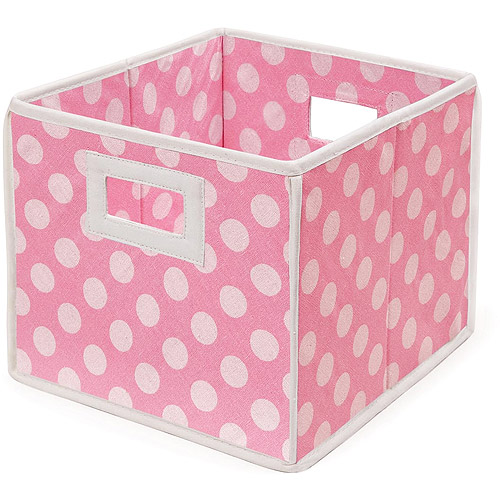 Badger Basket - Folding Basket, Pink Polka Dot
