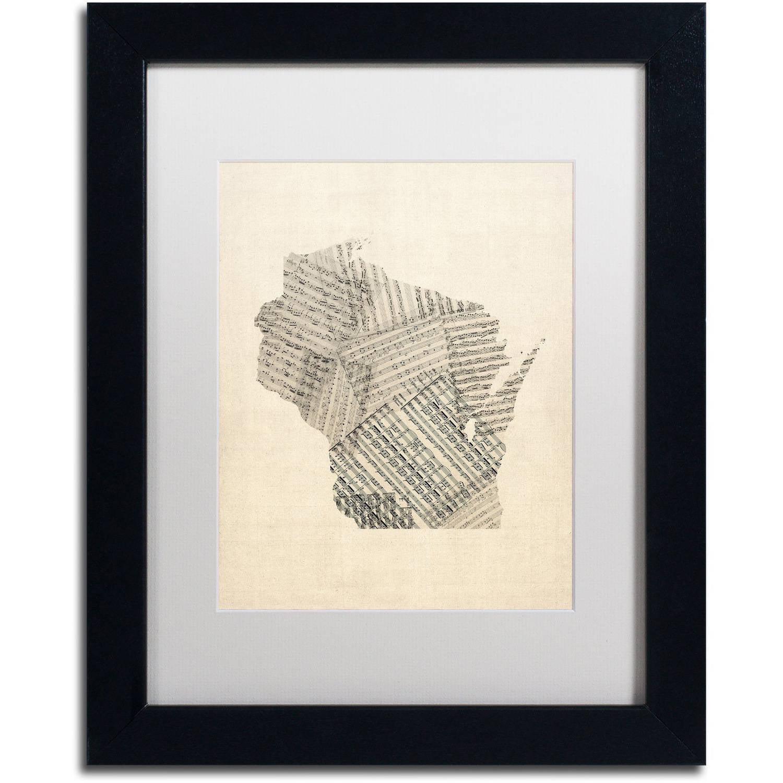 Trademark Fine Art 'Old Sheet Music Map of Wisconsin' Canvas Art by Michael Tompsett, White Matte, Black Frame