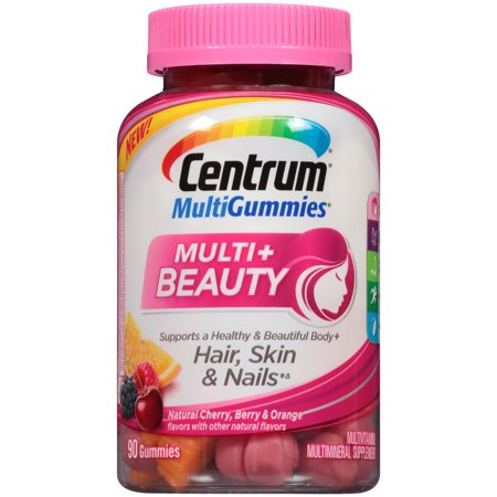 - Centrum MultiGummies + Beauty 90 ct, Natural Cherry, Berry, Orange Flavors Multivitamin/Multimineral Supplement