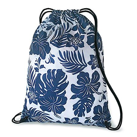 Hawaiian Style Drawstring Backpack Hibiscus Floral Blue