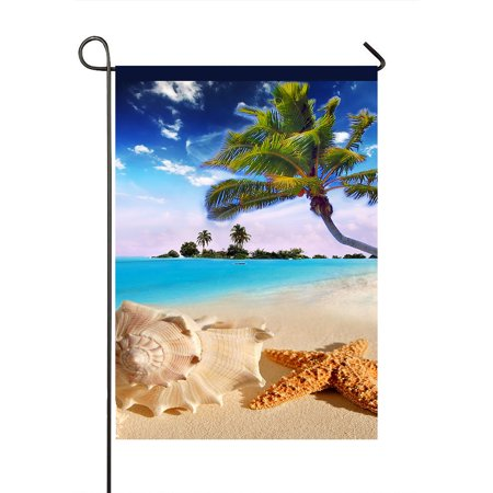 GCKG Starfish sea Star Summer Beach Tropical Sea Life Palm Tree Durable Fashion Outdoor Yard Flag Garden Flag Decorative Pathway Flag Size 28x40 Inches - image 1 of 1