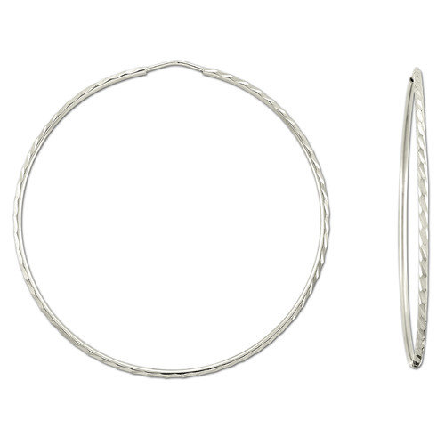 Sterling Essentials Platifina Platinum Plated Sterling Silver 2.75 inches Diamond-Cut Hoop Earring