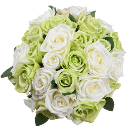 2 Pack Artificial Flowers Rose Bouquet Fake Flowers Silk Plastic
