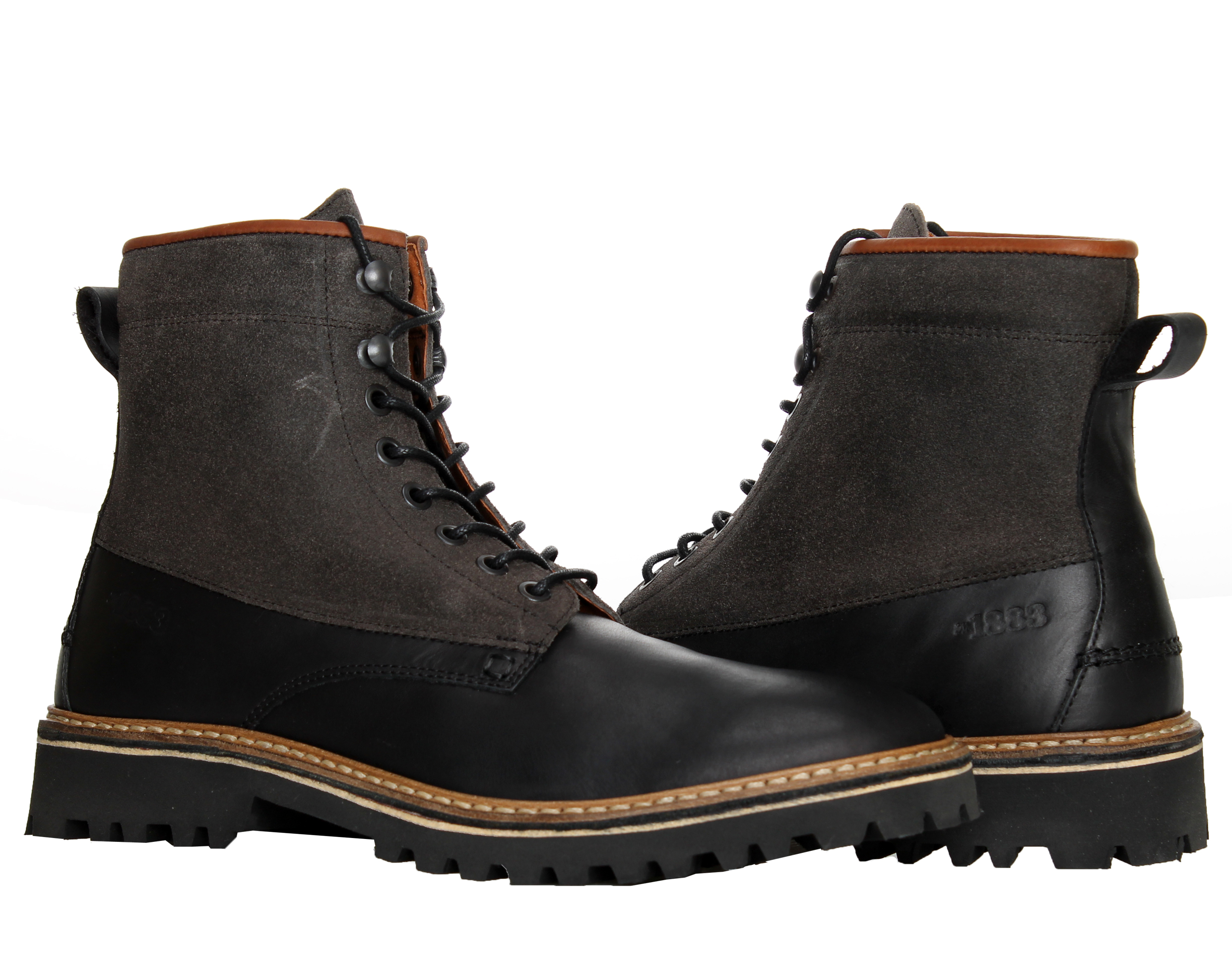 1883 by Wolverine Tomas Plain-Toe Hiker Black Men's Boots W00774 by