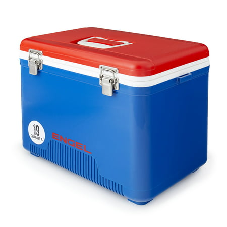 Engel 19 Quart 32 Can Airtight Odor Resistant Insulated Cooler Drybox, Red/Blue ()