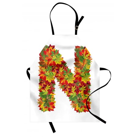 Letter N Apron Fall Canadian Maple Leaves Shaped Symbolic Writing Sign Flourishing Mother Earth, Unisex Kitchen Bib Apron with Adjustable Neck for Cooking Baking Gardening, Multicolor, by