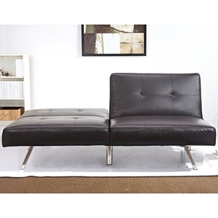 Contemporary Aspen Espresso Brown Leather Foldable Futon Sleeper Sofa Bed