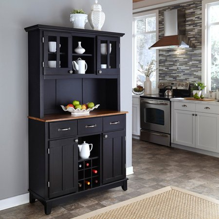 Home Styles 5100-0046-42 Buffet of Buffets Cottage Oak Wood Top Buffet with Hutch, Black Finish, 41-3/4-Inch Cabinet Oak Veneer Buffet China
