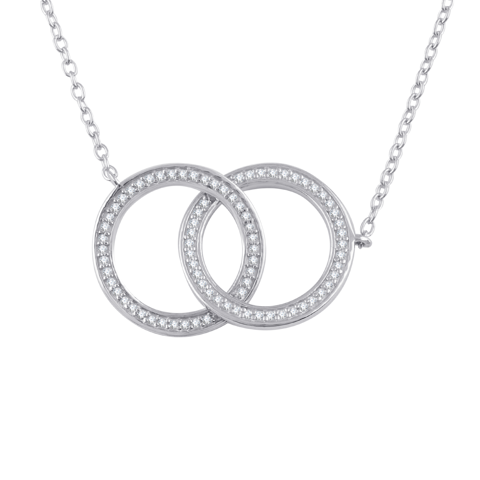 1 4 Carat Diamond Sterling Silver Circle Necklace by Premier Jewelry Designs, LLC