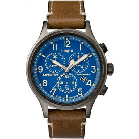 Men's Expedition Scout Chrono Brown/Blue Watch, Leather Strap