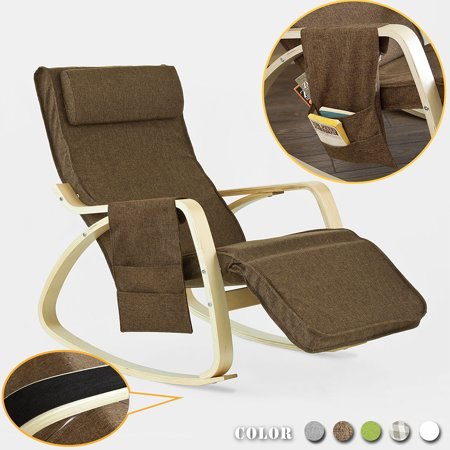 Haotian FST18-BR, Comfortable Relax Rocking Chair, Gliders,Lounge Chair Recliners with Adjustable Footrest & Side Pocket brown