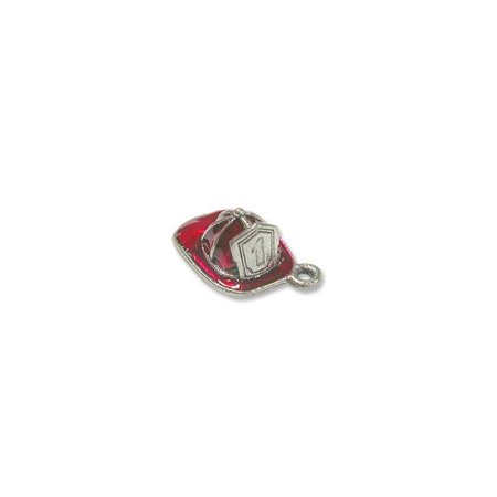 Fire Hat Charm (Charm for Jewelry Making - Fire Hat 15x11mm Pewter Silver Plated Hand Painted)