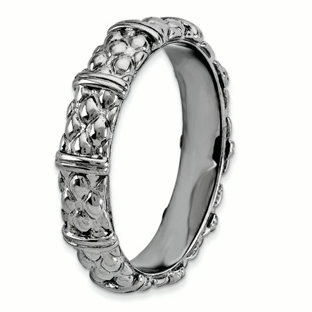 Sterling Silver Stackable Expressions Black-plated Ring Size 10 - image 1 de 3