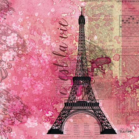 Paris France Tower - Lovely Pink Paris France Eiffel Tower C'est La Vie Print; One 12x12in Poster Print