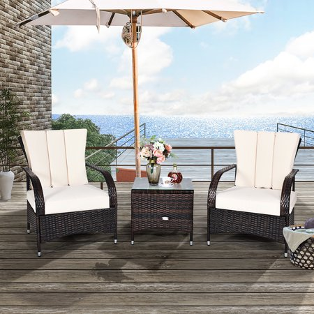 Costway 3PCS Rattan Furniture Set Chair Coffee Table Conversation Set W/White Cushion - image 1 of 10