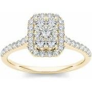 3/4 Carat T.W. Diamond Cluster Emerald-Shape Halo 10kt Yellow Gold Engagement Ring